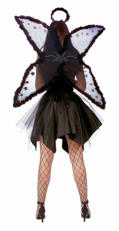Large Black Marabou Fairy Wings