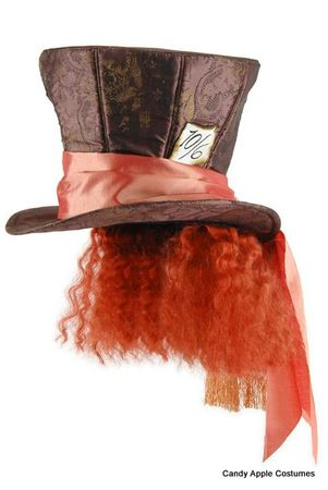 Licensed Alice in Wonderland Deluxe Mad Hatter Top Hat With Hair