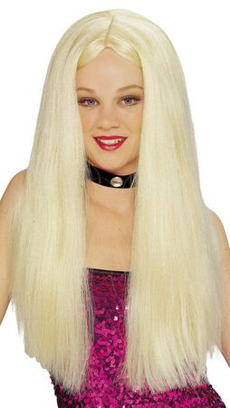 Economy Long Blonde Center Part Wig