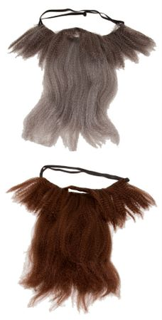 Long Crimped Beard and Mustache - Gray or Brown