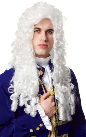 Long Platinum Curly Nobleman Wig