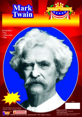 Mark Twain Wig and Mustache Kit