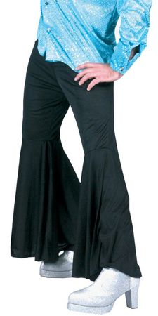 Men's Black Hippie Bell Bottom Pants