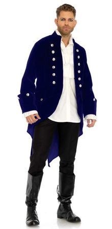 Men's Blue Velvet Regency Coat