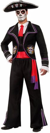 Men's Day of The Dead Mariachi Macabre Costume, Size M/L