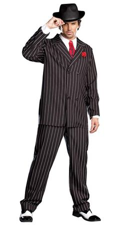 Men's Pinstriped Gangster Costume