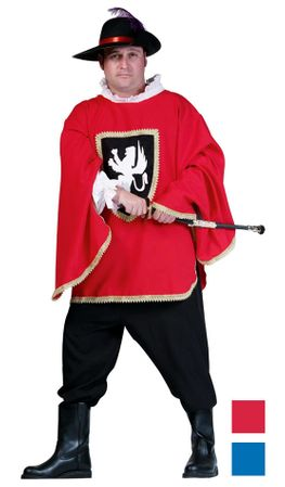 Men's Plus Size Musketeer Costume - Red or Blue