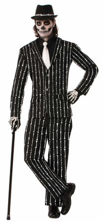 Men's Skeleton Bones Pinstripe Suit Costume