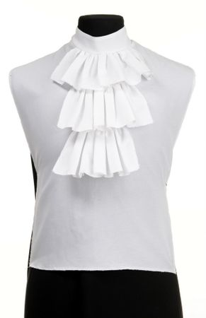 Men's White Colonial Shirt Front With Jabot