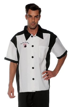 Men's Black and White Bowling Shirt