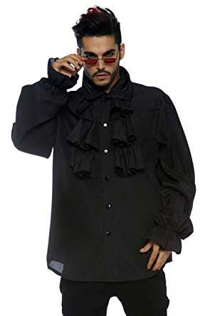 Men's Black Ruffle Front Shirt