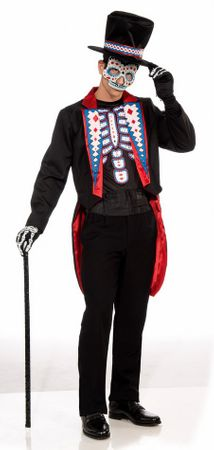 Men's Day of the Dead Tuxedo Skeleton Costume, Size M/L
