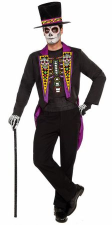 Men's Plus Size Formal Day of The Dead Costume