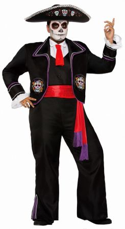Men's Plus Day of the Dead Mariachi Macabre Costume