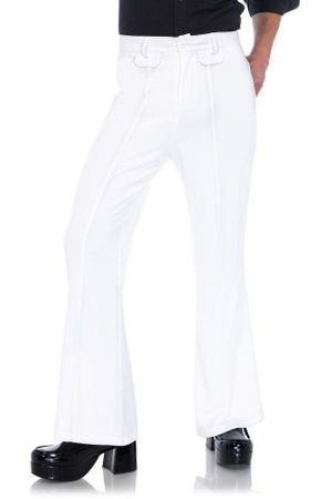 Men's White Bell Bottom Pants