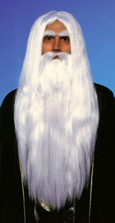 Merlin Long White Wig and Beard