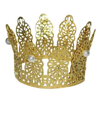 Mini Gold Princess Crown with Pearls