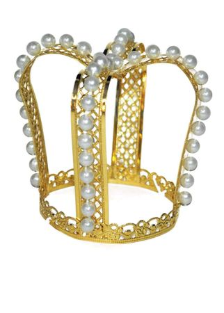 Mini Gold Queen Crown with Pearls