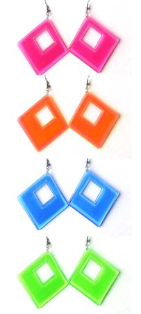 Neon Diamond Cut-Out Dangle Earrings