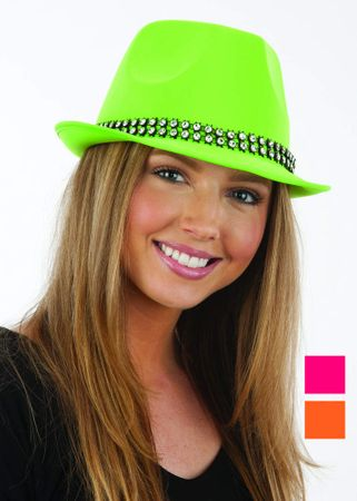Neon Satin Fedora Hat With Rhinestone Band - More Colors