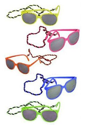 Neon Speckled 80s Sunglasses with Cord
