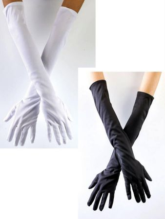 Opera Length Nylon Gloves - Black, White, or Pink