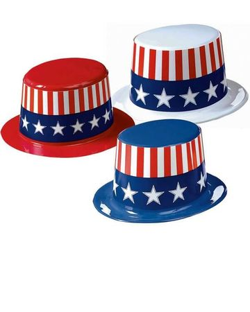 Patriotic Plastic Top Hat - More Colors