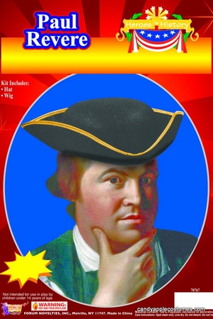 Paul Revere Hat and Wig Costume Kit