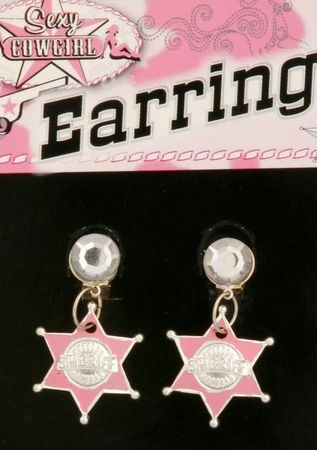 Pink Cowgirl Sheriff Star Earrings