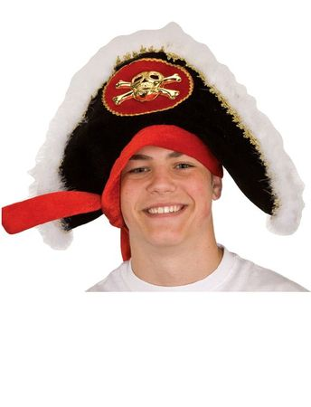 Pirate Captain Hat With Gold Skull