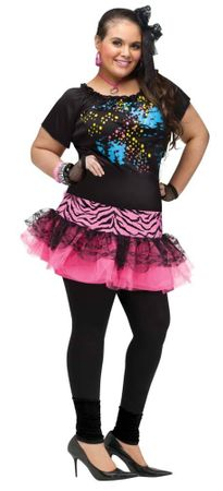 Plus Size 80's Pop Party Girl Costume