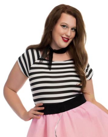 Plus Size Adult 50s Striped Top