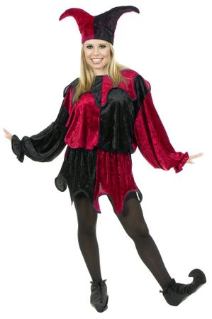 Plus Size Adult Red/Black Velvet Jester Costume