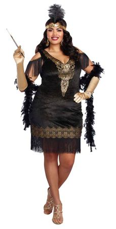 Plus Size Black/Gold Swanky Flapper Costume
