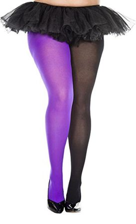 Plus Size Black/Purple Jester Tights