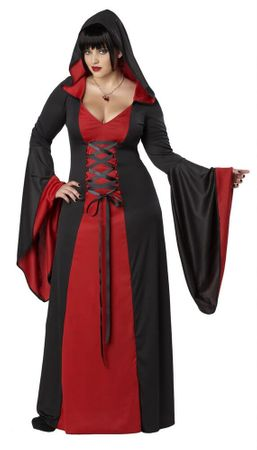 Plus Size Black/Red Hooded Robe Costume