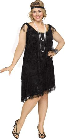 Plus Size Black Shimmery Flapper Costume
