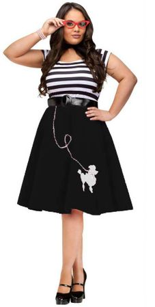 Plus Size Black/White Poodle Dress