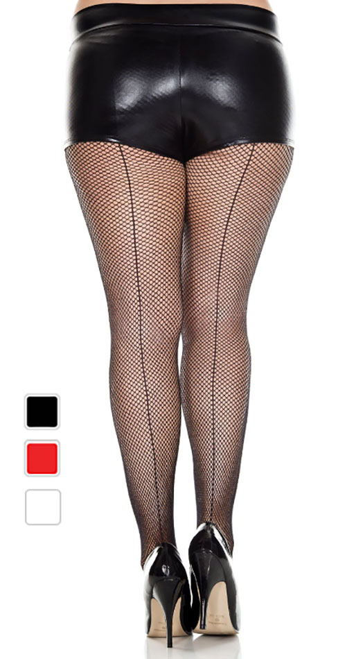f8f686c55f339 Plus Size Fishnet Backseam Pantyhose - Various Colors
