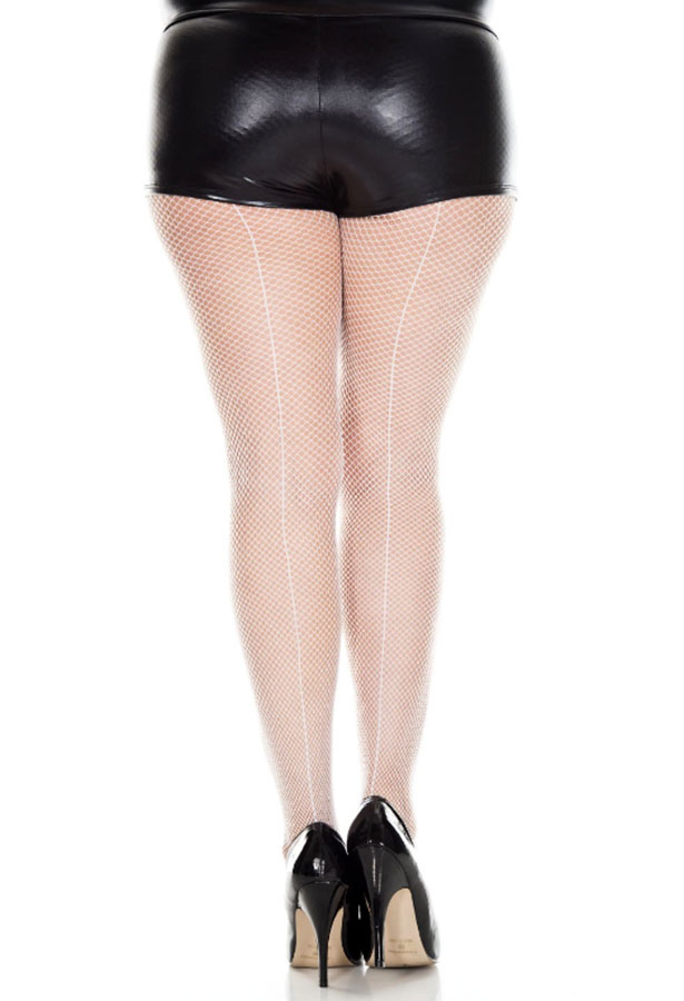 993fc517b091a ... Plus Size Fishnet Backseam Pantyhose - More Colors