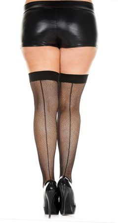 Plus Size Fishnet Backseam Thigh Highs