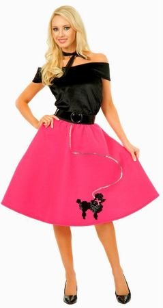 Adult Fuchsia Poodle Skirt Costume With Black Top