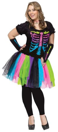Plus Size Funky Punk Bones Skeleton Costume