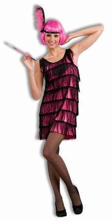 Plus Size XXXL Jazzy Hot Pink Flapper Costume