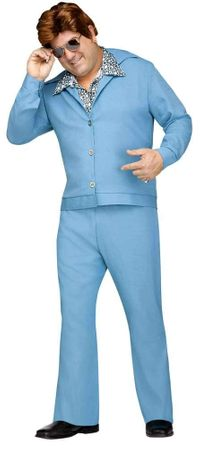 Plus Size Light Blue 70's Leisure Suit Costume
