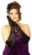 Plus Size Long Black Velvet Gloves