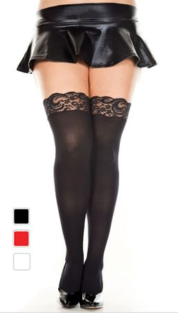 Plus Size Opaque Lace Top Thigh Highs - More Colors