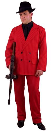 Plus Size Red/Black Pinstriped Gangster Suit Costume