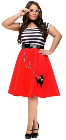 Plus Size Red Poodle Dress