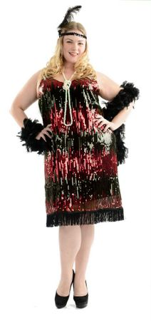 Plus Size Red Sequin Flapper Costume